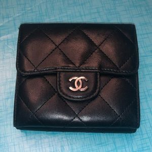 Good condition authentic Chanel small flap wallet